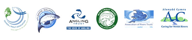 The Angling Trust, Atlantic Salmon Trust, Afonydd Cymru, Association of Rivers Trusts, Salmon & Trout Association and Wild Trout Trust logos